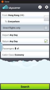 2. Skyscanner:機票搜尋器,到達地點可選擇「任何地方」,日子可以「任何日子」,自動搜尋最平的機票,價錢有時會有點出入,請睇清楚。