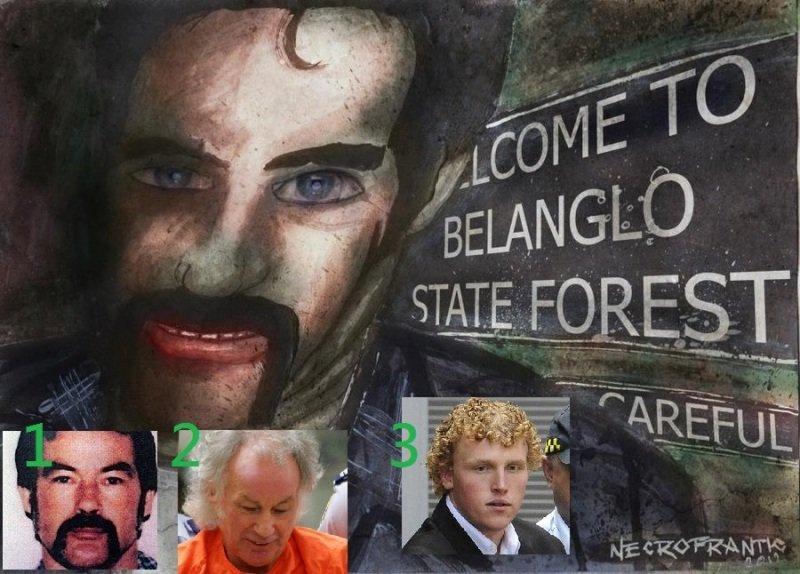 背包客殺手Ivan Milat,令Sydney的Belanglo森林聞名於世。圖一是補捕時的樣子,二是數年前服役中的照片,三為他的姪孫Matthew。