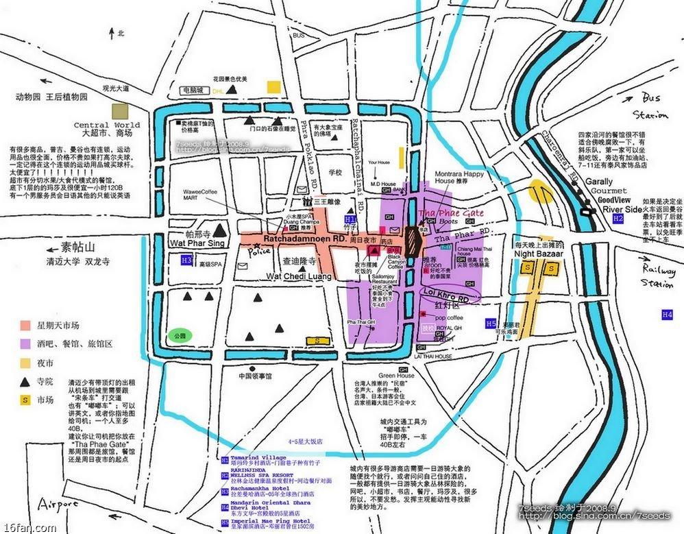 網絡轉載地圖,簡單易明,如欲詳細地圖,可前往清邁機場的「information」櫃枱免費索取。
